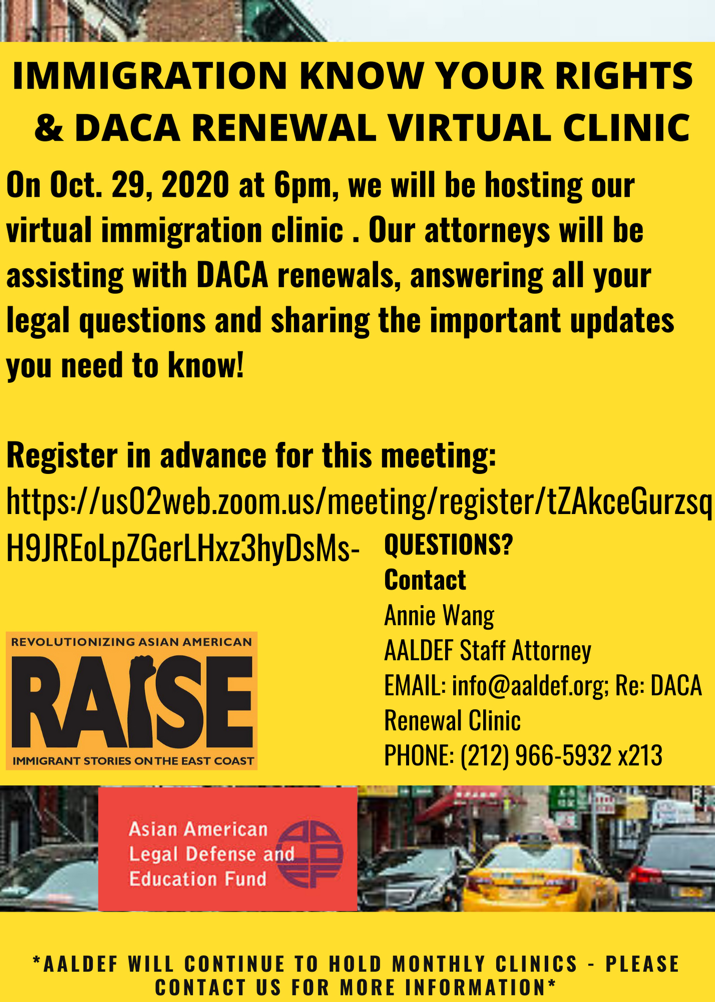 Image for Oct. 29 - AALDEF immigration/DACA renewal clinic