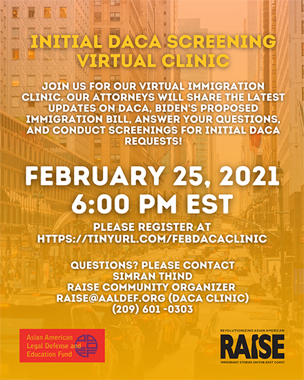 Image for Feb. 25: AALDEF & RAISE virtual DACA clinic
