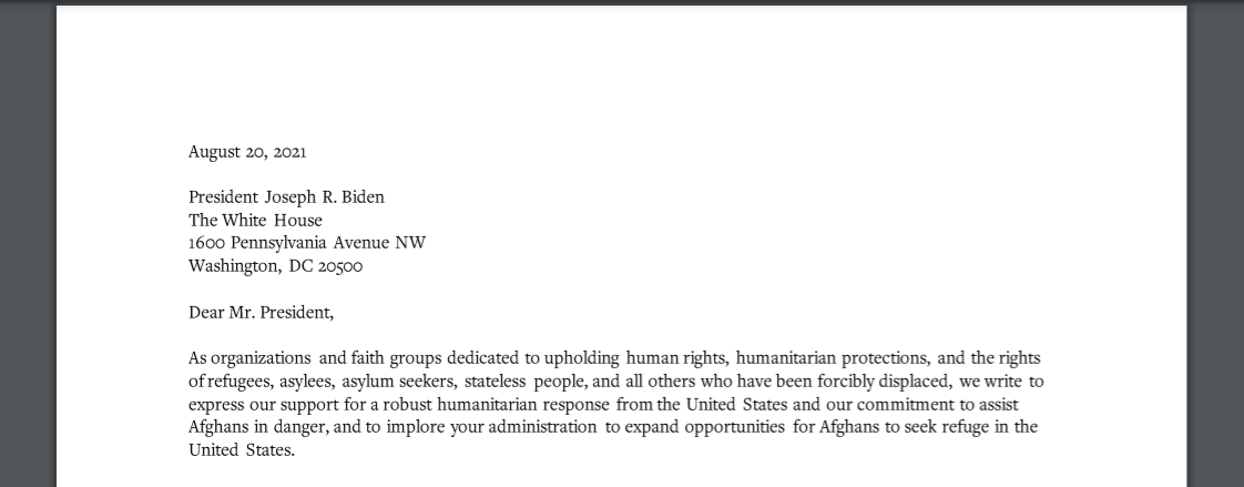 Image for 300+ Organizations Call on President Biden to Support Afghan Refugees